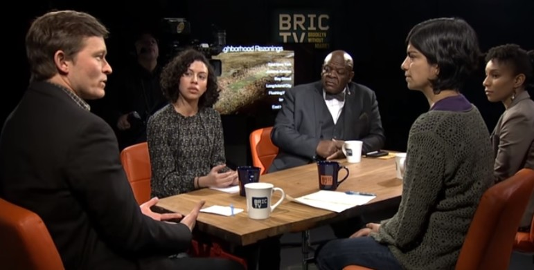 Your correspondent speaks with Pumarol and Muhammad to his left and Crespo and Williams to his right on the set of BkLive.