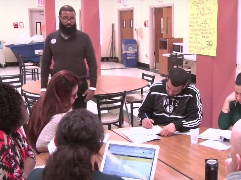 Teachers meet daily at West Brooklyn to discuss each student's progress.