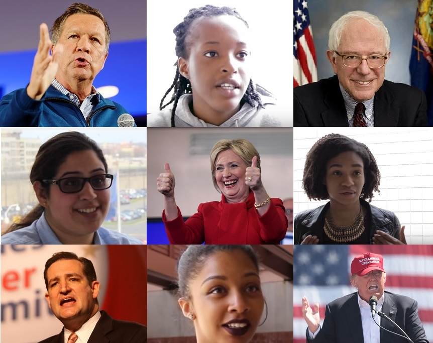 York College students Chizobam Atuanya (between Gov. Kasich and Sen. Sanders), Swatanter Polce and Kayla Webb (flanking. Sec. Clinton) and Melissa Menzies (between Sen. Cruz and Mr. Trump).
