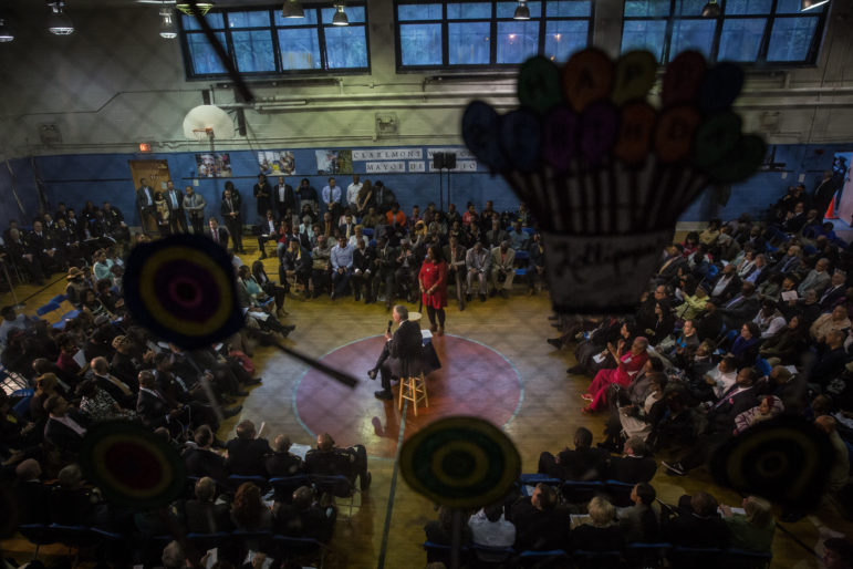 Mayor Bill de Blasio leads a town hall meeting with City Council Member Vanessa Gibson  in the Bronx earlier this month.