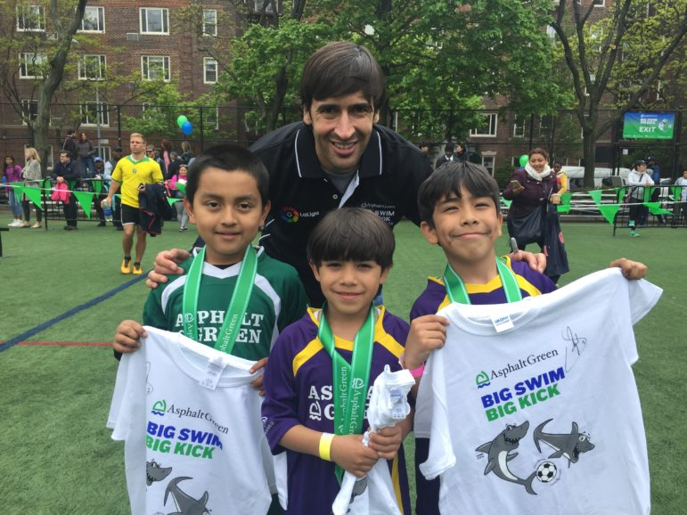 Some Big Kick participants with retired Real Madrid soccer star, Raúl.