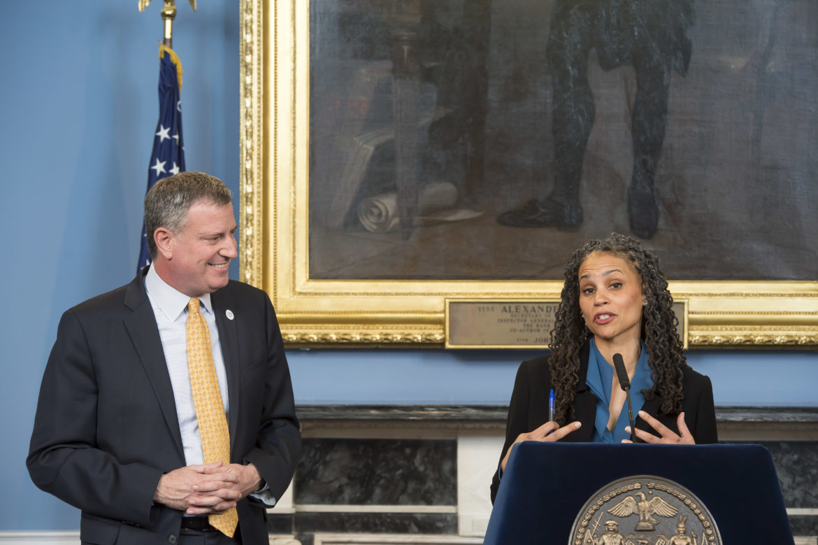 Mayor Bill de Blasio announces Wiley's appointment in February 2014.