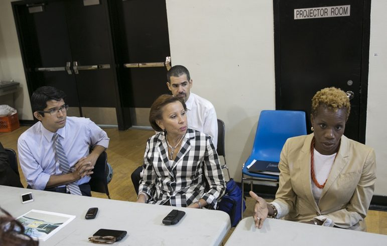Councilmember Carlos Menchaca and Congresswoman Nydia Velazquez look toward NYCHA chairwoman Shola Olatoye, who's looking to all levels of government to fund public housing at a more sufficient level.