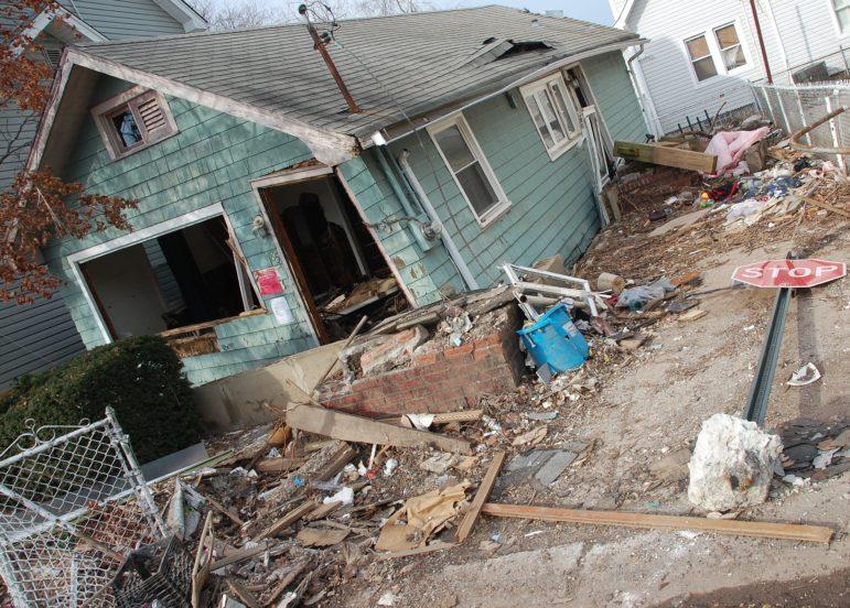 Damage from Hurricane Sandy in Staten Island.