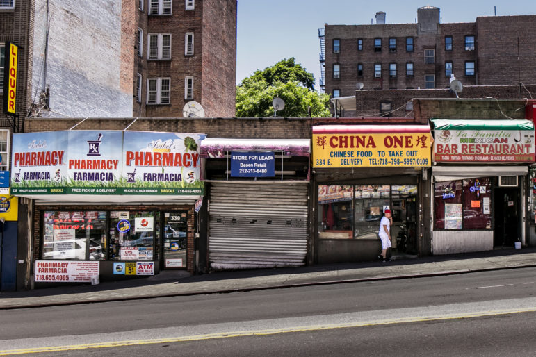 Businesses and store space for lease on East Gun Hill road between Hull Avenue and Decatur Avenue in the Bronx. In 2014 the Bronx led the city with a 30 percent increase in court-ordered commercial evictions.