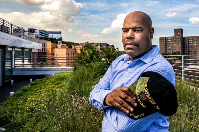 Mark Williams at the roof garden of the Jericho Project where he lives on Kingsbridge Terrace in the Bronx. He has been visiting the VA hospital (that gray building in the background) regularly to exercise and get care for his diabetes.