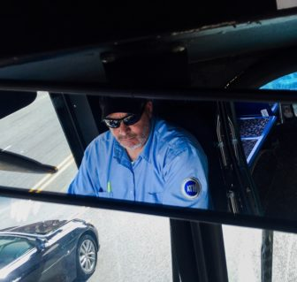 A bus driver, who says he has 12 years' experience, traveling on the route Bx19 from the Concourse Village to Harlem.