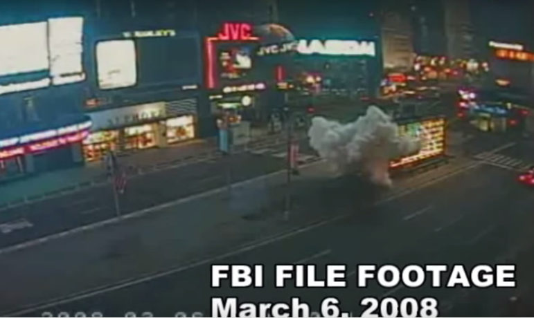 Surveillance-camera footage of the March 2008 blast outside a Times Square recruiting station, Like several of the bombings in New York's past century, it remains unsolved.