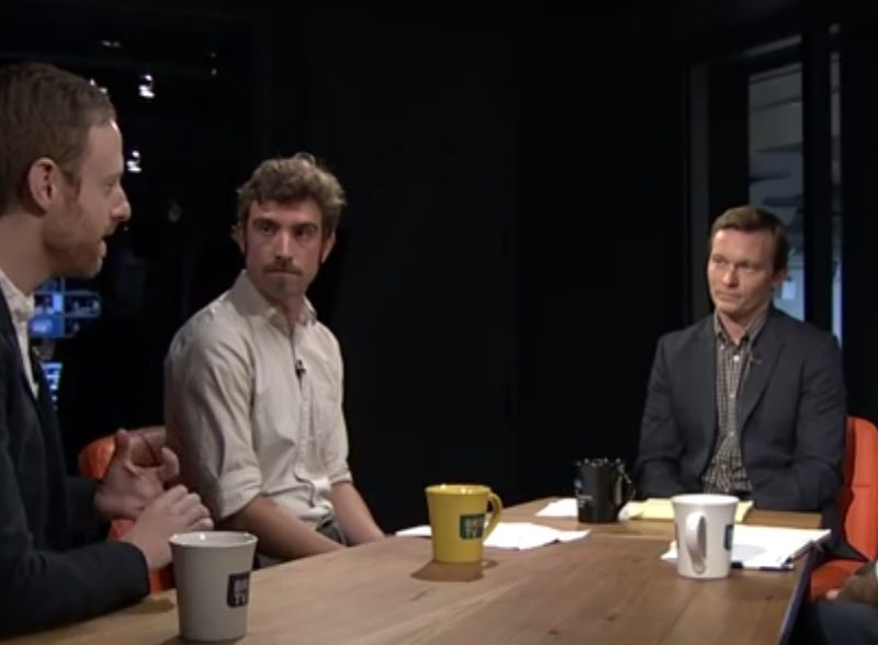 From left to right, Sloat, Jaeger, Murphy and Friedman on the set of BK Live.