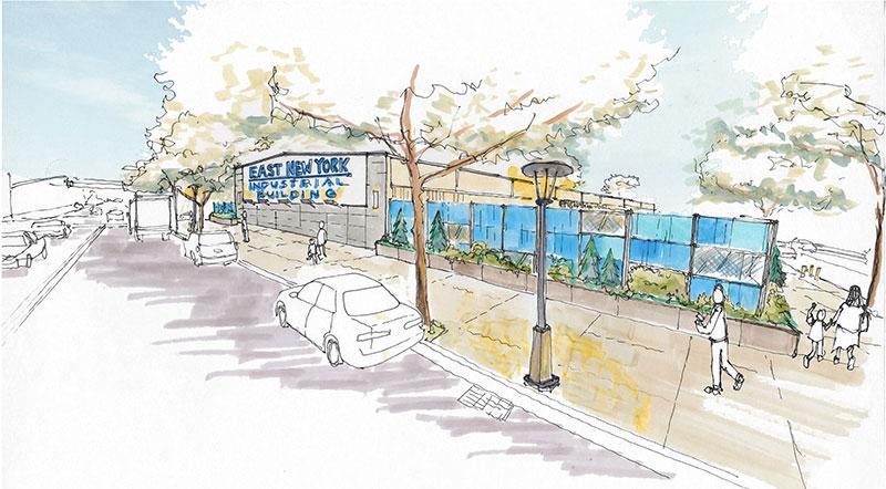 A rendering from City Planning's literature on economic development in East New York, the first neighborhood rezoned under Mayor de Blasio.