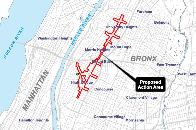 The proposed rezoning threads through several neighborhoods: Highbridge, Concourse, Mt. Eden, Mt. Hope, University Heights, and Fordham.