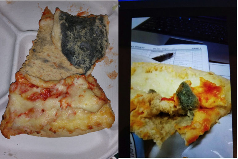 Photos associated with complaints of mold in the frozen pizza served by city schools. At left is an image taken in May. At right is one filed last week.