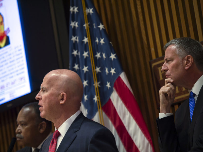 Commissioner James O'Neill and Mayor Bill de Blasio were caught on camera looking in the same direction.