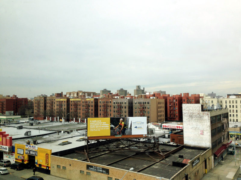 Longwood, in the Bronx, seen from the Bruckner Expressway.  From that distance, change seems costless and desperately needed. The closer truth is more complicated.