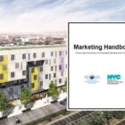 Artists rendering of a new affordable development called Van Sinderen Plaza. HPD's Marketing Handbook, inset, tells affordable housing developers how to implement policies like community preference.