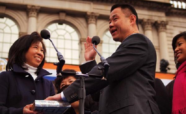 Comptroller Liu, seen here on inauguration day, has launched a new database allowing a closer look at how and when the city spends its money.
