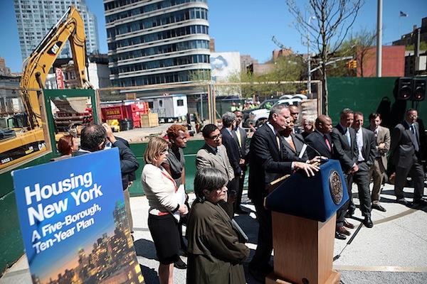 Mayor de Blasio unveils his housing plan.