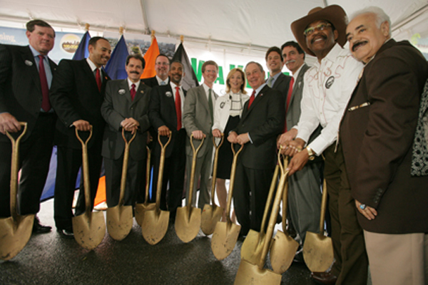Mayor Bloomberg and other officials pictured in 2010 as they celebrated the completion of the 100,000th unit of housing under his 2003-2014 housing place.