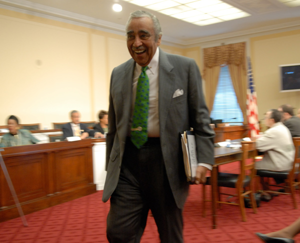 U.S. Rep. Charles Rangel of Harlem walks through a hearing room where the Congressional Black Caucus received testimony on black joblessness.