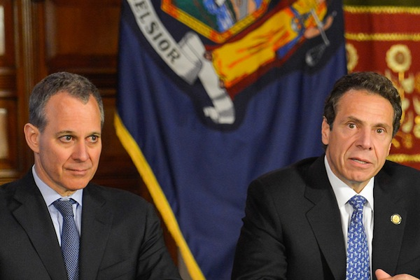 Attorney General Eric Schneiderman, left, is charged with monitoring a Code of Conduct imposed on 25 pension investment funds as part of then-AG Andrew Cuomo's reaction to the 2010 Alan Hevesi scandal.