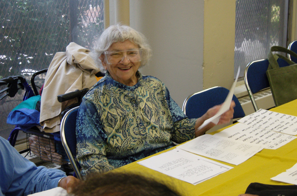 A participant in a Spanish lesson at the Kingsborough Houses senior center.