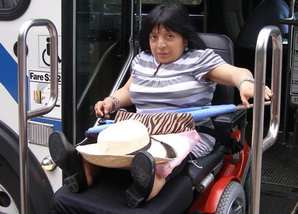 Clara Bailon, a power-wheelchair user and transit safety advocate who uses buses, subways and Access-A-Ride vehicles.