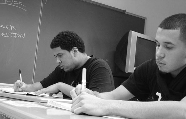 Freddie Perez (left) and Jonathon DeLaTorre seen in 2007 at South Brooklyn Community High School, which offers an alternative to traditional high school settings. See more <a href=