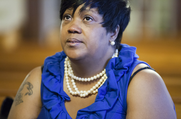 Francena Brown lost her son to gun violence five years ago. Since then she's worked with an advocacy group called AWAKE to help other victims of gun violence, including family members she meets when one of the group's response teams is called to the emergency room at Bay State Medical Center to counsel families and friends after a violent incident.