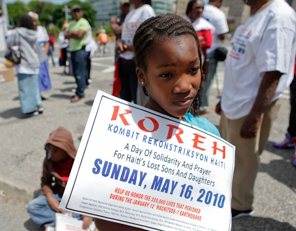Jovenska Bernardin, 9, attended the Sunday prayer gathering at Grand Army Plaza in Brooklyn as part of
