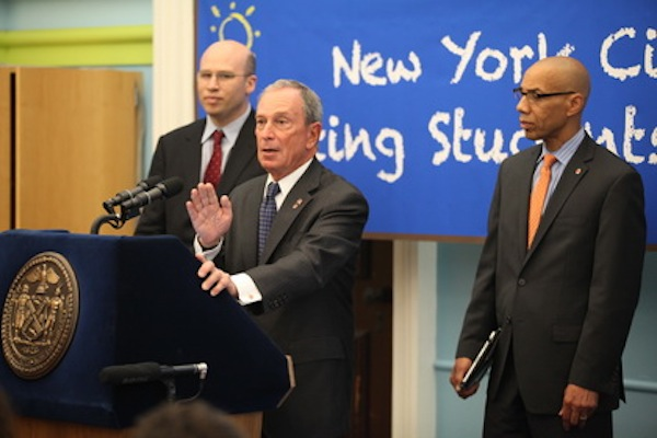 Chief Academic Officer Shael Polakow Suransky, Mayor Bloomberg and Chancellor Dennis Walcott discussing state test scores earlier this year.