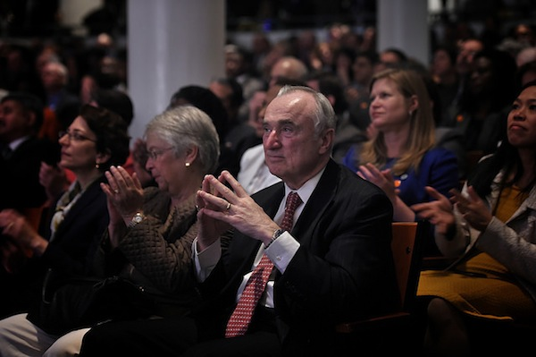 Police Commissioner Bill Bratton in the audience as Mayor Bill de Blasio delivers his 100 Day Speech at Cooper Union on Thursday, April 10, 2014.