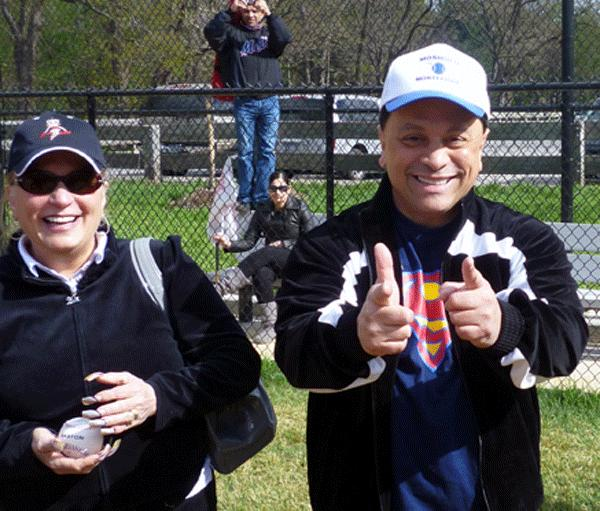 Sebator Pedro Espada at a recent Little League event in his neighborhood.