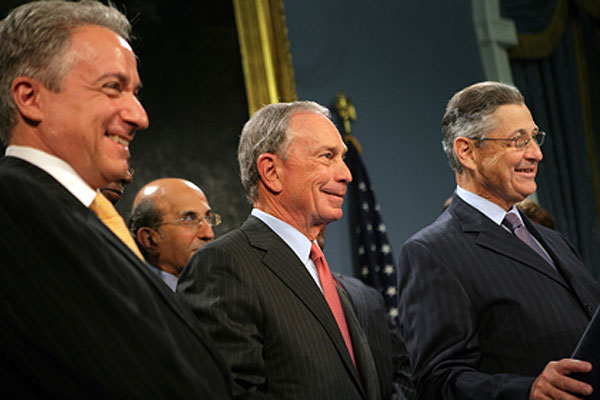 From left to right, state education Commissioner David Steiner, city schools Chancellor Joel Klein, Mayor Bloomberg and Assembly Speaker Sheldon Silver last week celebrated New York State's selection and award of $700 million in the U.S. Department of Education's Race to the Top competition.