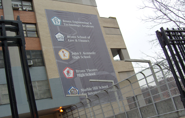 John F. Kennedy High School is one of five schools sharing a West Bronx campus.