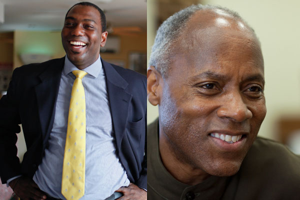 Basil Smikle, left, is challenging incumbent Bill Perkins for the 30th District State Senate seat in Harlem.