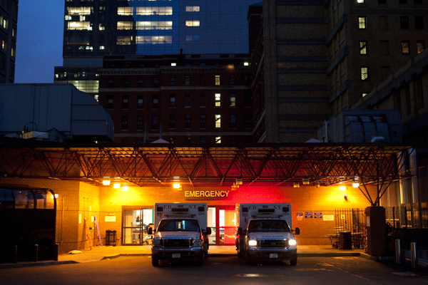 The ambulance bay at Bellevue Hospital. Since St. Vincent's closed, the hospital has seen ER visits rise by 25 percent and ambulance runs increase by about a third.