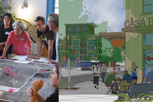 Seattle's North Beacon Hill neighborhood is one of several areas of the city to produce action plans. At left, a community meeting to develop the plan. At right, an image from the document the meetings produced.