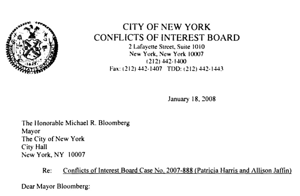 A letter from the Conflict of Interest Board to Mayor Bloomberg allowing two members of his staff to use city offices to administer one of the mayor's private philanthropic ventures. While the COIB issues hundreds of these public waiver letters each year, hundreds of other ethics decisions are kept confidential so as to encourage public officials to seek the board's advice.