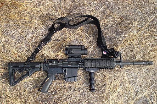An AR-15-style rifle. Different companies make distinct versions of the weapon, the best known of which is the Colt M-16—which is only made for military use.