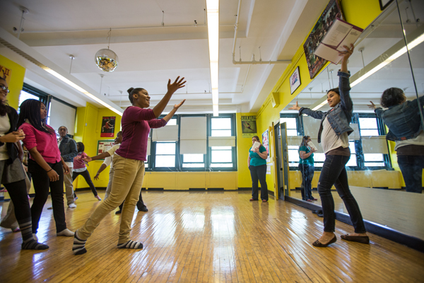 Students at Ron Brown Academy practice for a performance of