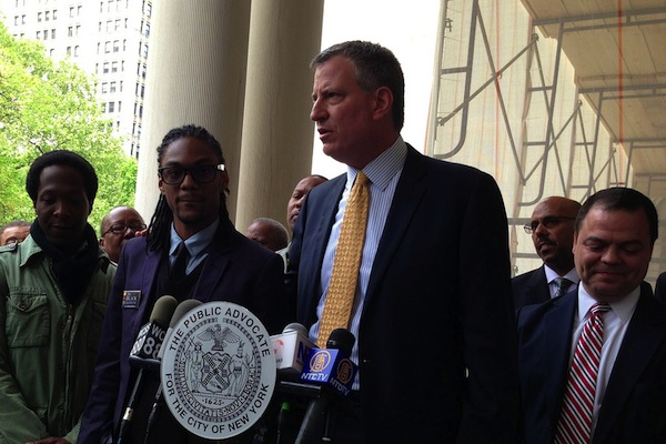 De Blasio, seen here at an earlier event, has long called for an income-tax surcharge on wealthy New Yorkers to pay for increased early childhood education.