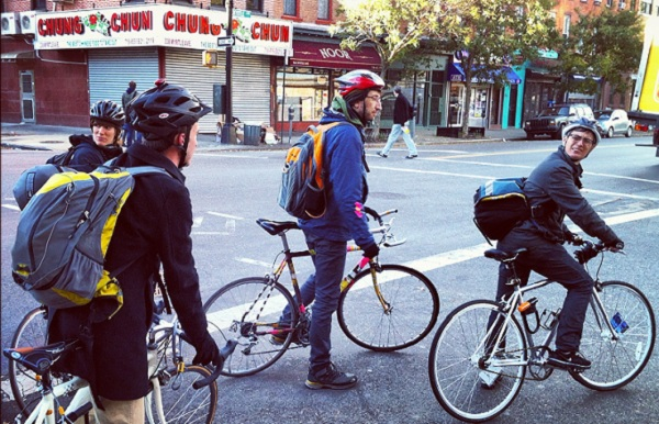 Bikers set off Thursday from Red Lantern Bicycles in Fort Greene.