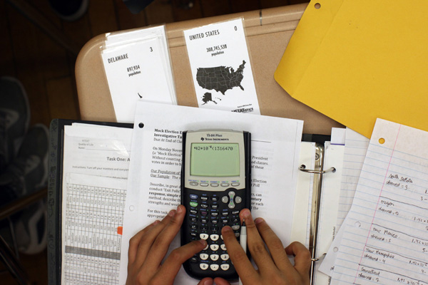 A student in Eleanor Terry's Advanced Placement Statistics class at the High School of Telecommunications, Arts and Technology, where campaign 2012 is a lesson in math and citizenship.