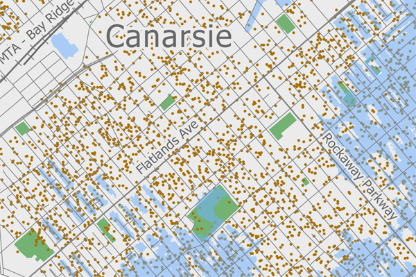 A map prepared by the Center for New York City Neighborhoods. the dots are households that, over the past three years, have received pre-foreclosure notices. The blue shows the reach of Sandy floodwaters.