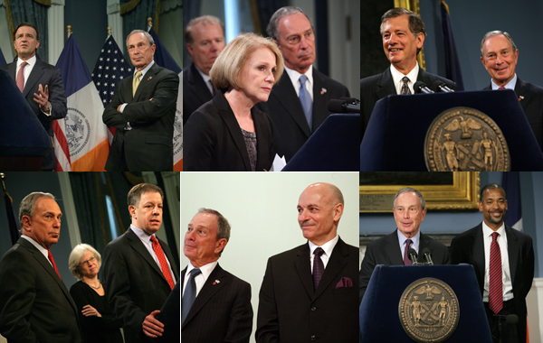 Recent high-level appointments by Mayor Bloomberg include (clockwise from top left): Robert K. Steel as Deputy Mayor for Economic Development, Dr. Dora B. Schriro as Commissioner of the New York City Department of Correction, <a href=