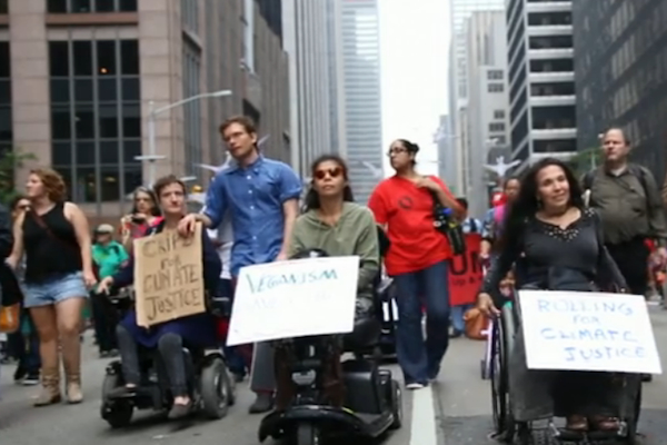 Some marched through Manhattan last week. Others rolled. Their message: As terrifying as climate-change induced superstorms are for everyone, they're that much more so when you depend on wheels to move or electricity to breathe.