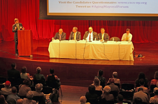 Sal Albanese, Bill de Blasio, John Catsimatidis, John Liu and Anthony Weiner debate senior policy last summer. The 2013 mayoral race may have overdone debates, but the 2014 governor's contest faces no risk of that.
