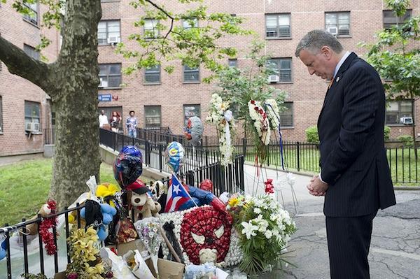 Mayor Bill de Blasio at Boulevard Houses in East New York.