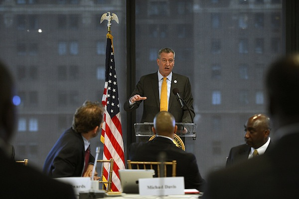 The mayor addressed a crowd at the Ford Foundation on Friday.