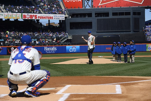 May de Blasio chucks the first pitch at Opening Day at CitiField.